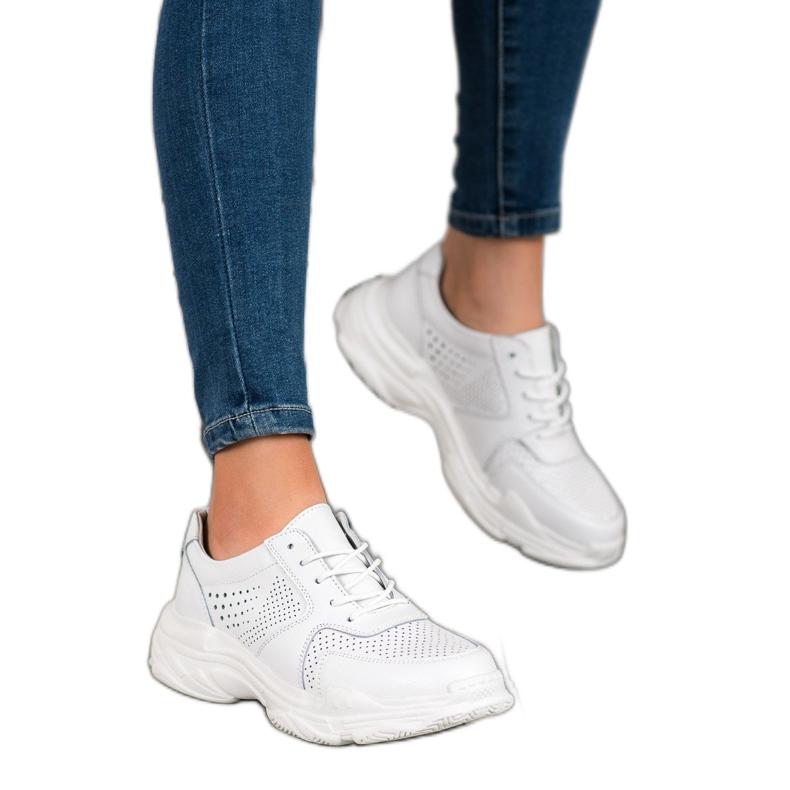 Filippo Klasyczne Sneakersy Ze Skóry białe