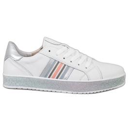 Filippo Skórzane Sneakersy Z Brokatową Platformą białe
