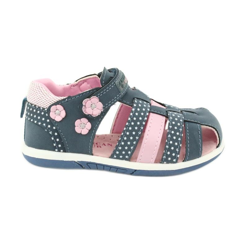 Sandałki dziewczęce American Club DR16/20 białe granatowe różowe