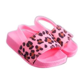 FRROCK Dziecięce Klapki Dziewczęce Brokat Leopard Różowe Rimia