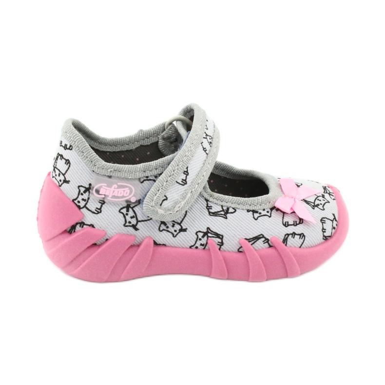 Befado obuwie dziecięce 109P198 czarne różowe szare
