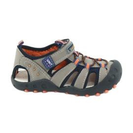 Sandałki chłopięce American Club DR04/20 granatowe pomarańczowe szare