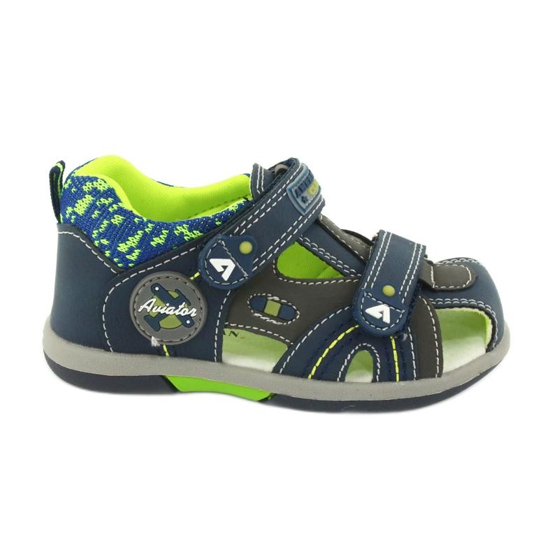 Sandałki chłopięce rzep American Club DR09/20 granatowe niebieskie szare zielone