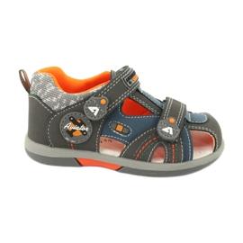 Sandałki chłopięce rzep American Club DR09/20 niebieskie pomarańczowe szare