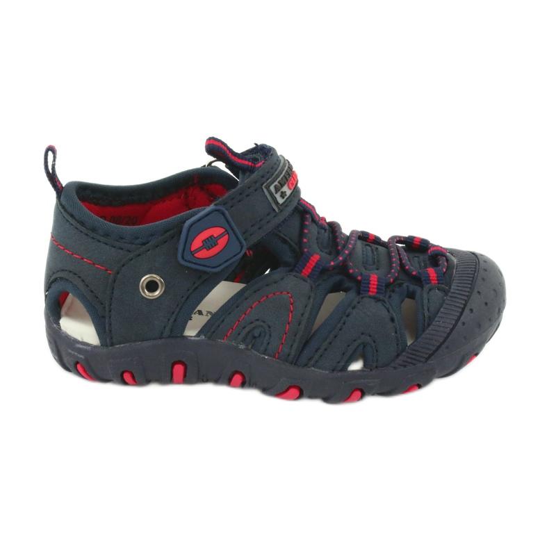 Sandałki chłopięce rzep American Club DR08/20 czerwone granatowe