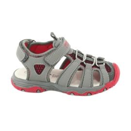 Sandałki wkładka skóra American Club XD06/20 szare czerwone