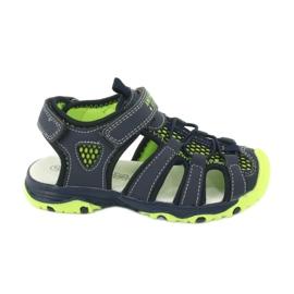 Sandałki wkładka skóra American Club XD06/20 granatowe zielone