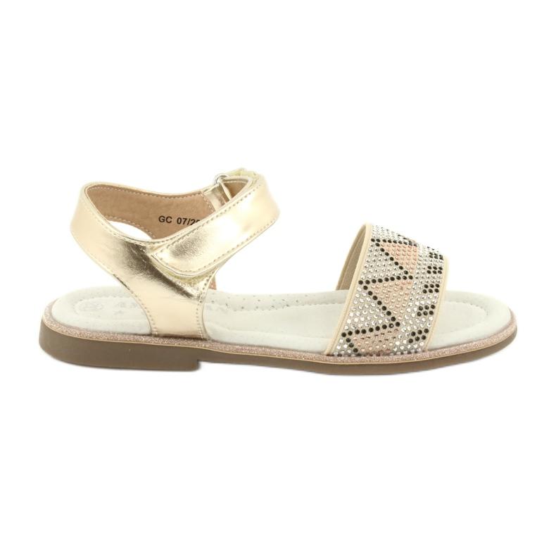 Sandałki dziewczęce metaliczne American Club GC07/20 czarne szare żółte