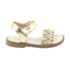 Sandałki dziewczęce metaliczne American Club GC08/20 złoty