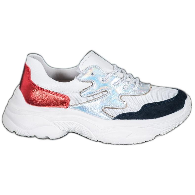 Filippo Skórzane Kolorowe Sneakersy białe wielokolorowe