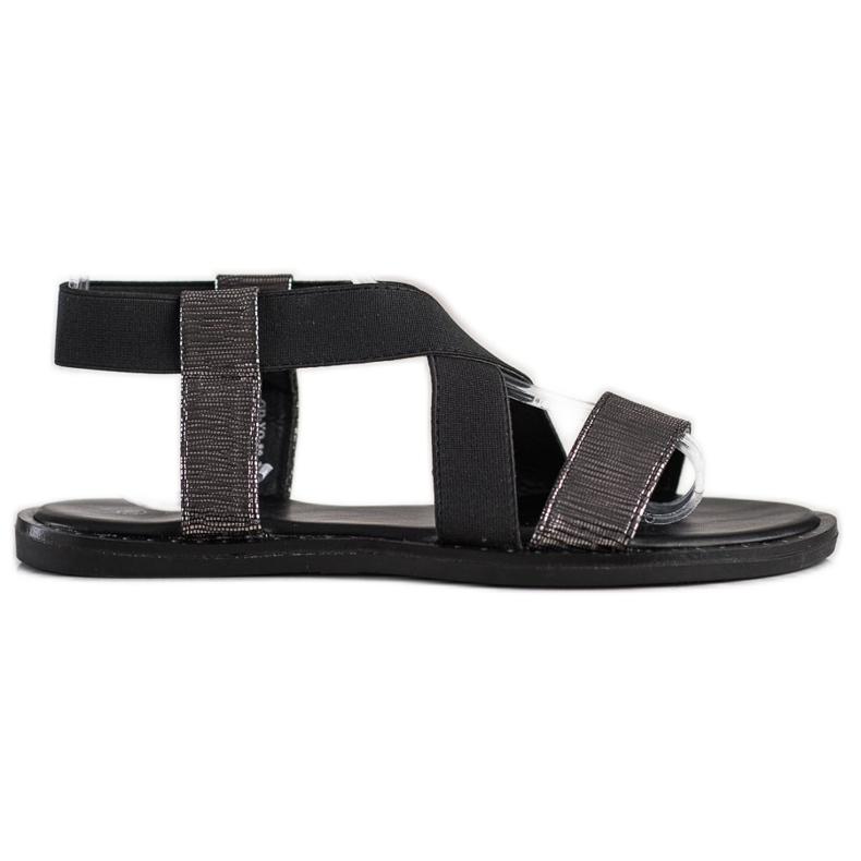 Goodin Komfortowe Czarne Sandałki szare