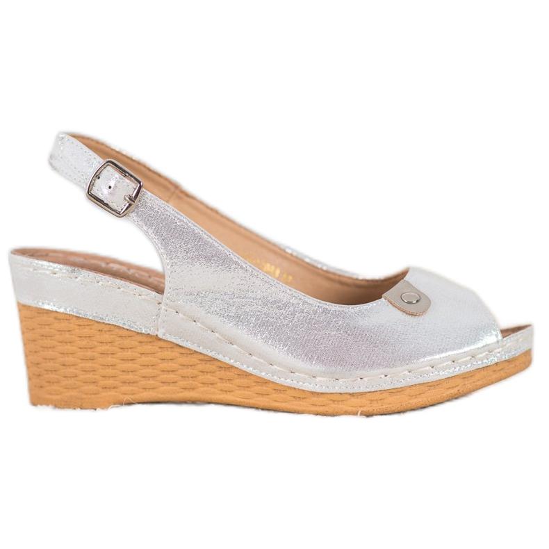 Błyszczące Sandały Na Koturnie VINCEZA szare