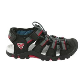 American Club Buty dziecięce sandałki z wkładką piankową American DR01/20 czarne czerwone szare