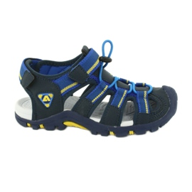 American Club Buty dziecięce sandałki z wkładką piankową American DR01/20 granatowe niebieskie żółte