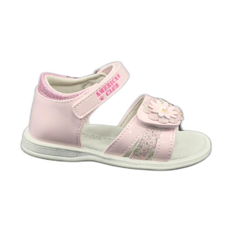 Sandałki dziewczęce kwiatki American Club XD12/20 różowe