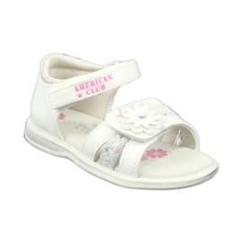 Sandałki dziewczęce kwiatki American Club XD12/20 białe szare
