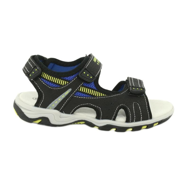 Sandałki chłopięce sportowe American Club RL30/20 czarne niebieskie żółte