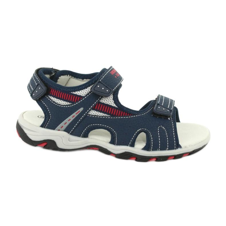 Sandałki chłopięce sportowe American Club RL30/20 czerwone granatowe szare
