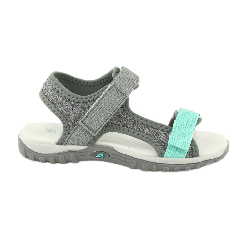 Sandałki z wkładką skórzaną American Club RL24/20 szare zielone