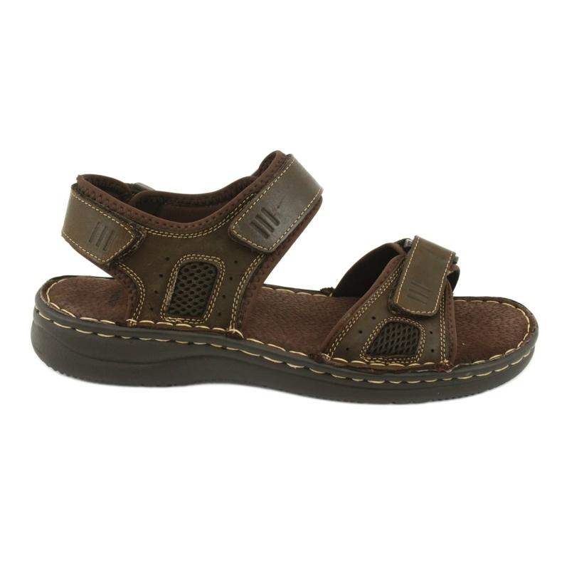 Komfortowe sandały sportowe skórzane American Club CY13/20 brązowe