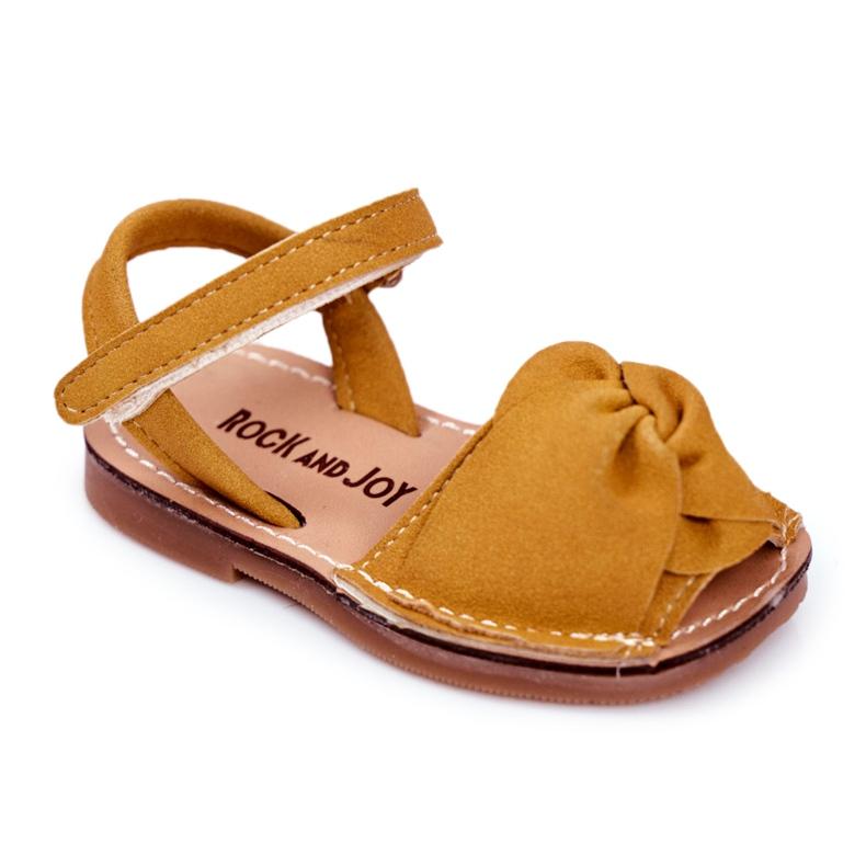 FRROCK Dziecięce Sandałki Na Rzep Żółte Goofy