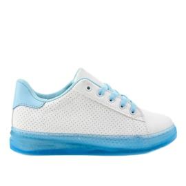 Białe sneakersy trampki H-33 niebieskie
