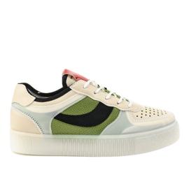 Zielone obuwie sportowe sneakersy LA51P wielokolorowe