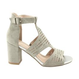 Sandały z cholewką zamszowe  Sergio Leone SK903 szare