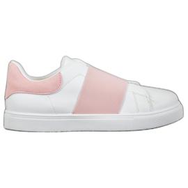 SHELOVET Wsuwane Obuwie Z Gumką białe różowe