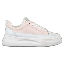 SHELOVET Trampki Na Platformie Fashion białe różowe