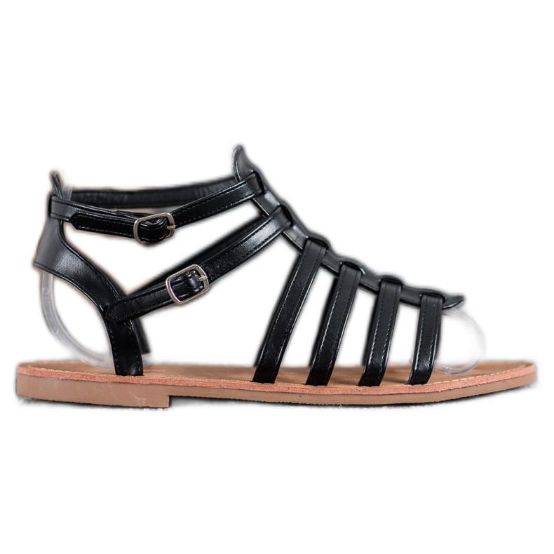 SHELOVET Czarne Sandały Rzymianki