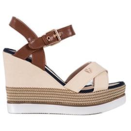 SHELOVET Sandały Na Koturnie brązowe
