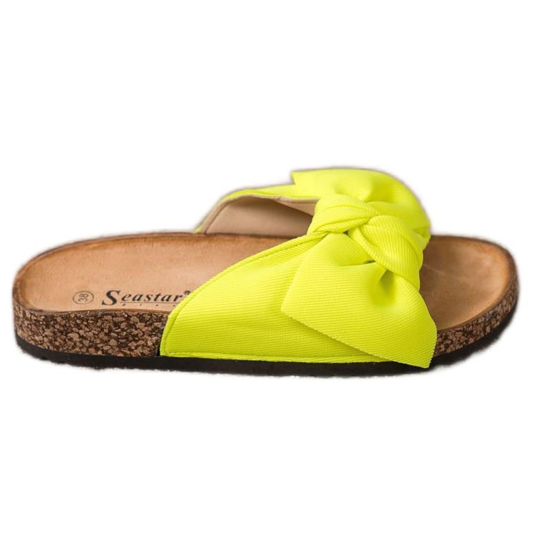 Seastar Neonowe Klapki Z Kokardą żółte