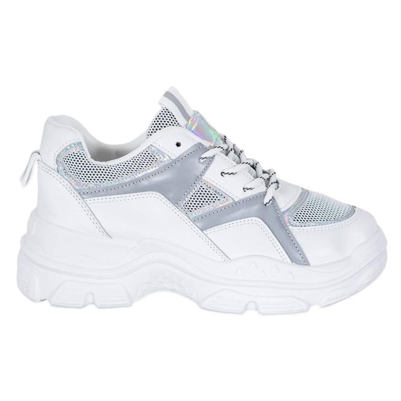 Sweet Shoes Wiązane Sneakersy białe szare