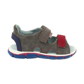 Sandałki na rzepy Mazurek 314 popiel/czerwony czerwone niebieskie szare