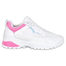 SHELOVET Sneakersy Z Różowymi Wstawkami białe różowe