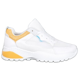 SHELOVET Sneakersy Z Jasnopomarańczowymi Wstawkami białe pomarańczowe