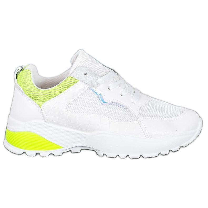 SHELOVET Sneakersy Z Żółtymi Wstawkami białe