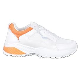 SHELOVET Sneakersy Z Pomarańczowymi Wstawkami białe pomarańczowe