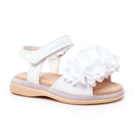 FRROCK Dziecięce Sandałki Na Rzep Świecące Białe Milena