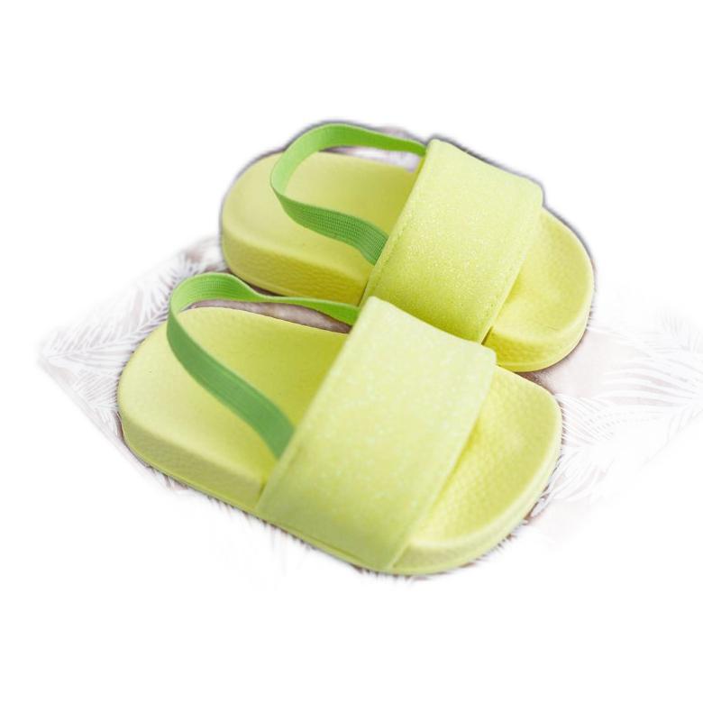 FRROCK Dziecięce Klapki Dziewczęce Brokat Limonkowe Rimia żółte