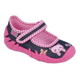 Befado obuwie dziecięce 109P179 granatowe różowe wielokolorowe
