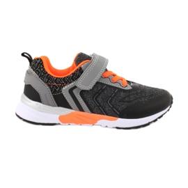 NEWS buty sportowe na rzepy 20DZ55-1777 czarne pomarańczowe szare