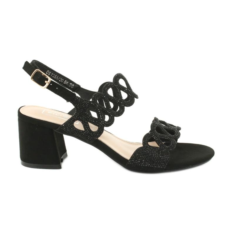 Sandały czarne z cyrkoniami Filippo DS1355/20 BK