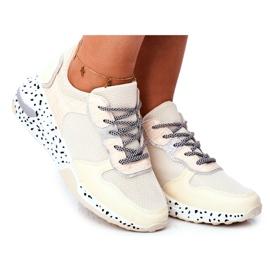 Sportowe Damskie Buty Ukryty Koturn Beżowe Pinky beżowy
