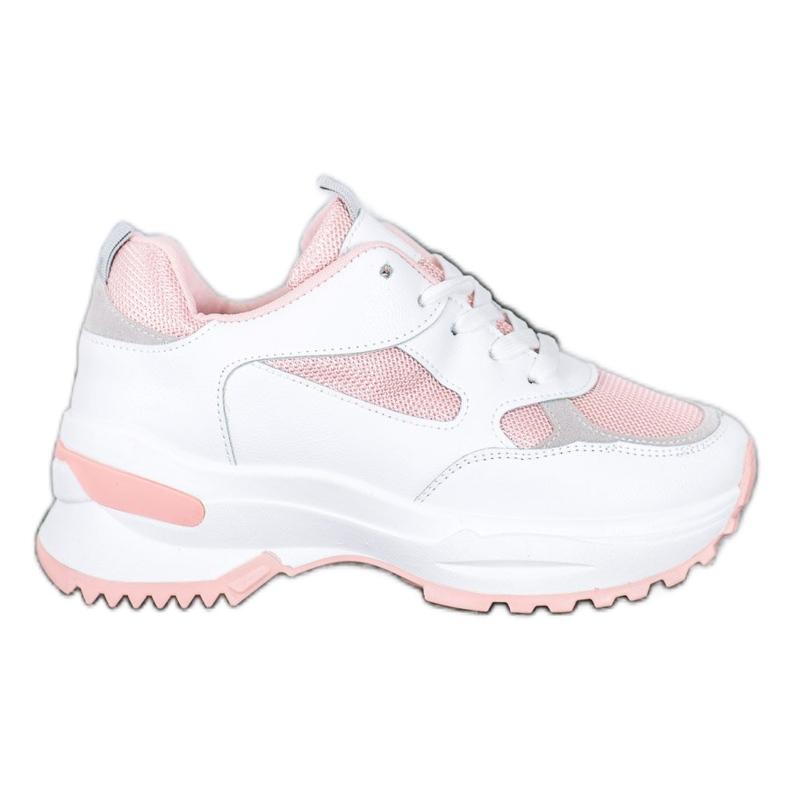 SHELOVET Biało-różowe Sneakersy