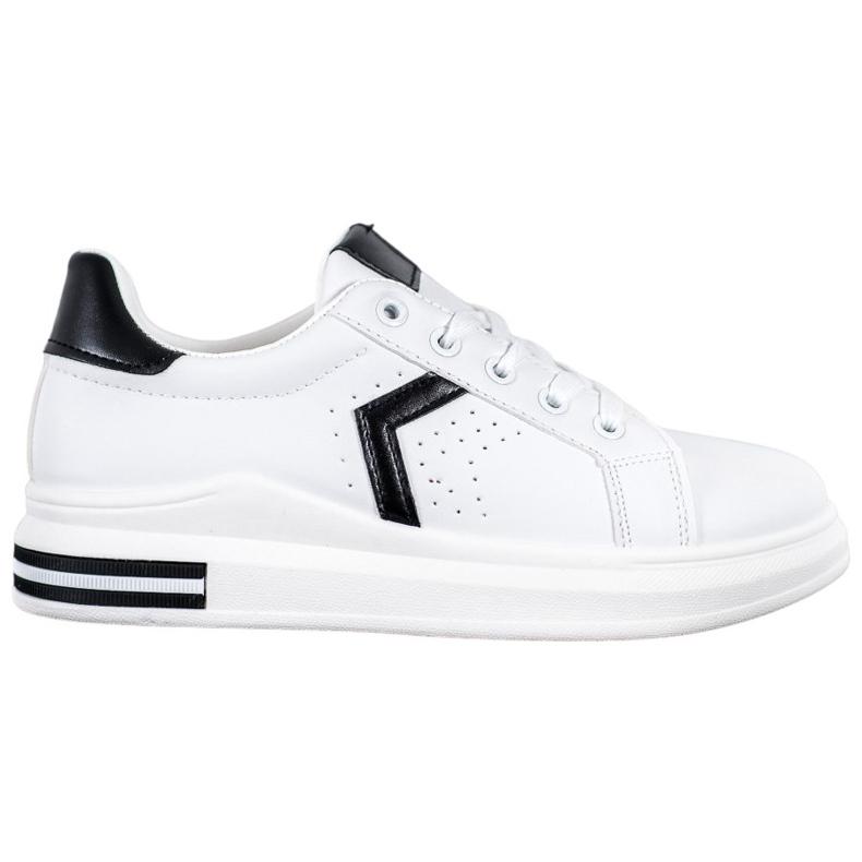 SHELOVET Buty Sportowe Z Eko Skóry białe