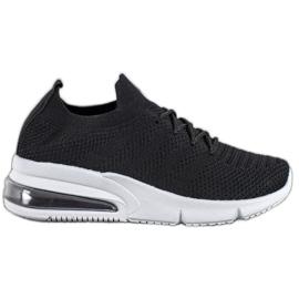 SHELOVET Tekstylne Czarne Sneakersy