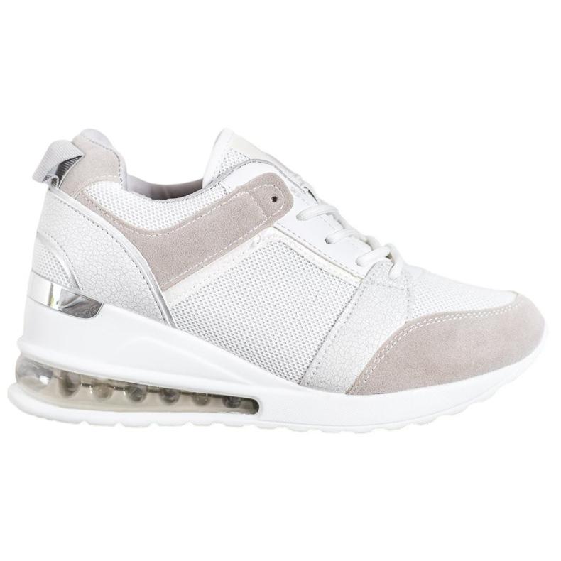 Weide Sneakersy Na Koturnie Fashion białe szare