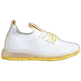 SHELOVET Sneakersy Z Żółtą Podeszwą białe